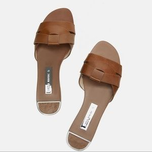 Brand NEW Zara LEATHER CROSSOVER SANDALS - Size 9